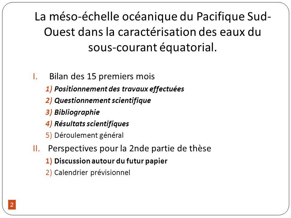 2 La méso-échelle océanique du Pacifique Sud- Ouest dans la caractérisation des eaux du sous-courant équatorial. I.Bilan des 15 premiers mois 1)Positi