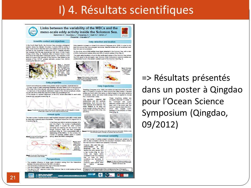 21 => Résultats présentés dans un poster à Qingdao pour lOcean Science Symposium (Qingdao, 09/2012) I) 4. Résultats scientifiques