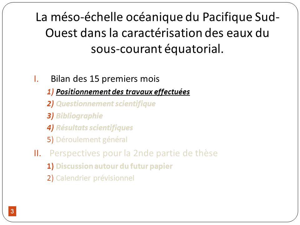 3 La méso-échelle océanique du Pacifique Sud- Ouest dans la caractérisation des eaux du sous-courant équatorial. I.Bilan des 15 premiers mois 1)Positi