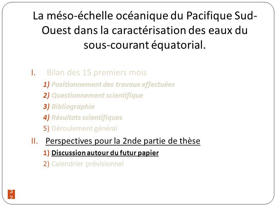 32 La méso-échelle océanique du Pacifique Sud- Ouest dans la caractérisation des eaux du sous-courant équatorial. I.Bilan des 15 premiers mois 1)Posit