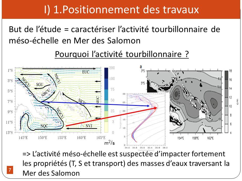 7 I) 1.Positionnement des travaux But de létude = caractériser lactivité tourbillonnaire de méso-échelle en Mer des Salomon Pourquoi lactivité tourbil
