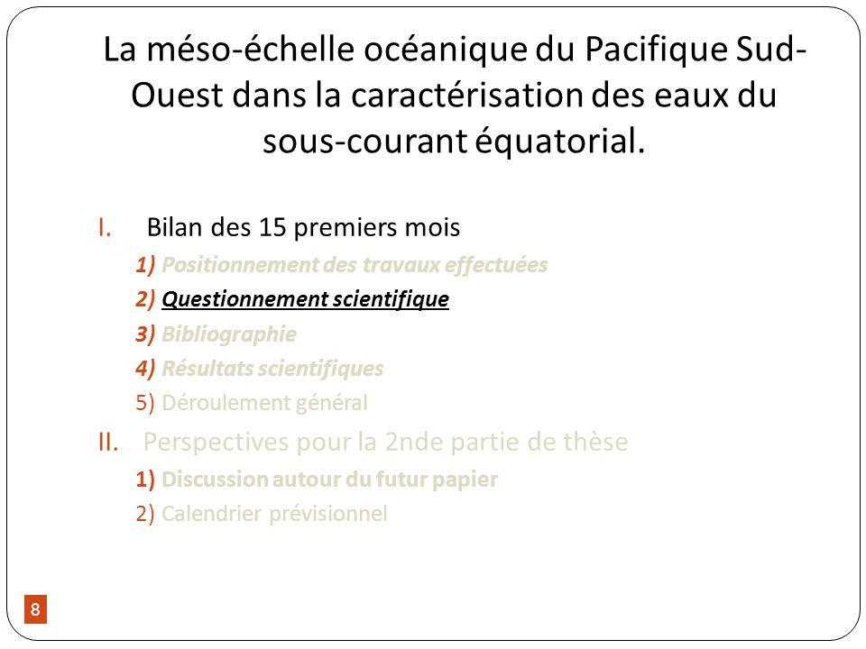 8 La méso-échelle océanique du Pacifique Sud- Ouest dans la caractérisation des eaux du sous-courant équatorial. I.Bilan des 15 premiers mois 1)Positi
