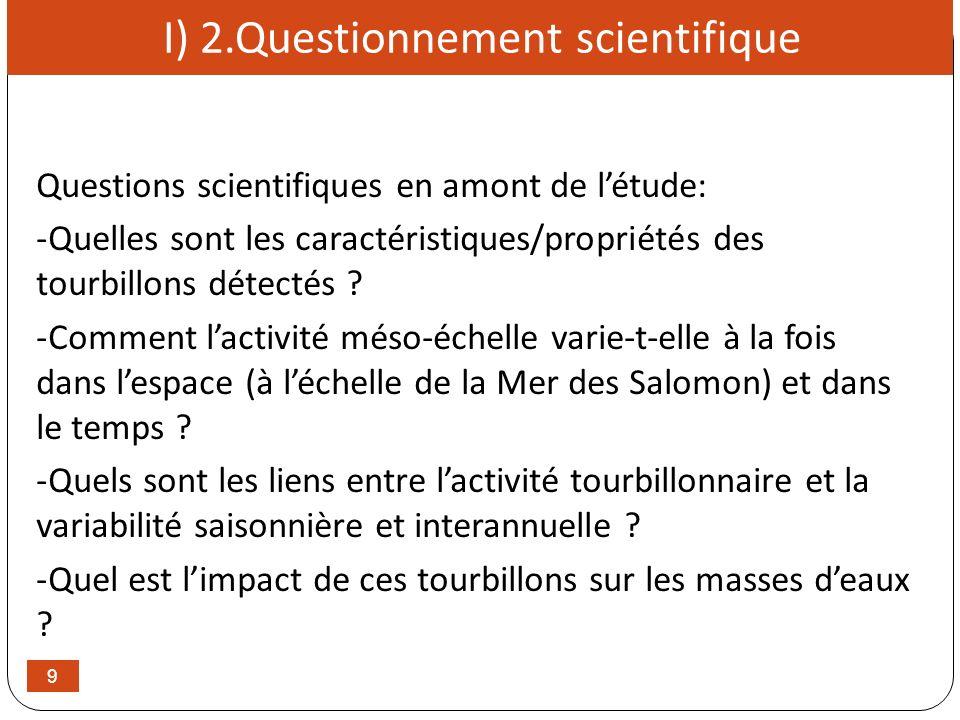 9 I) 2.Questionnement scientifique Questions scientifiques en amont de létude: -Quelles sont les caractéristiques/propriétés des tourbillons détectés