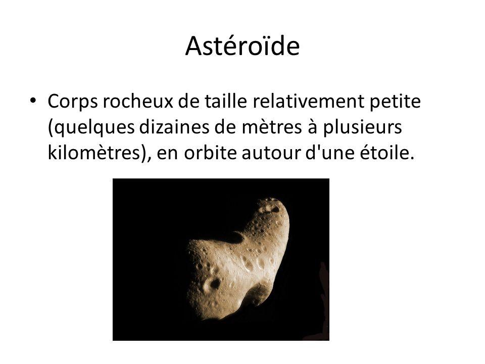 Astéroïde Corps rocheux de taille relativement petite (quelques dizaines de mètres à plusieurs kilomètres), en orbite autour d'une étoile.