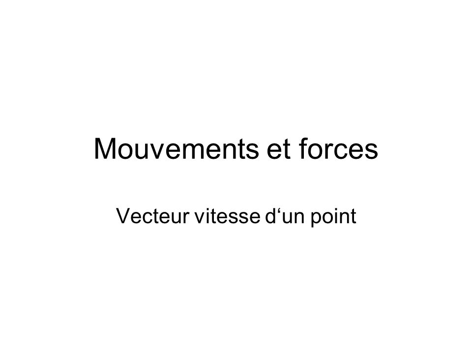 Mouvements et forces Vecteur vitesse dun point