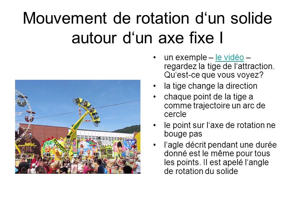 Mouvement de rotation dun solide autour dun axe fixe I un exemple – le vidéo – regardez la tige de lattraction. Quest-ce que vous voyez?le vidéo la ti