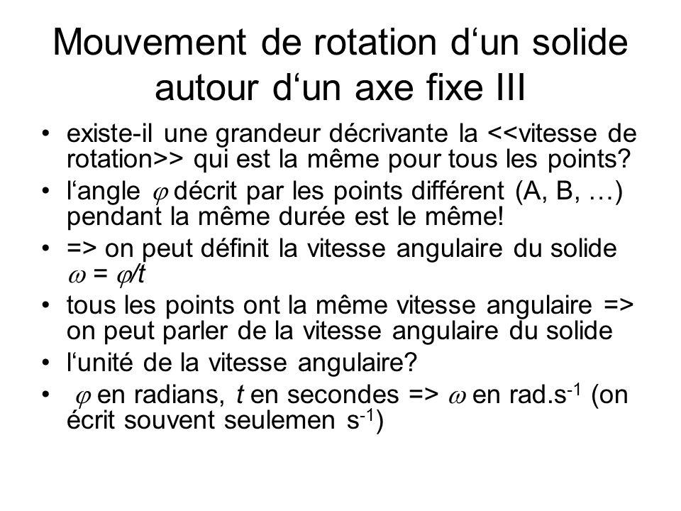 Mouvement de rotation dun solide autour dun axe fixe III existe-il une grandeur décrivante la > qui est la même pour tous les points? langle décrit pa