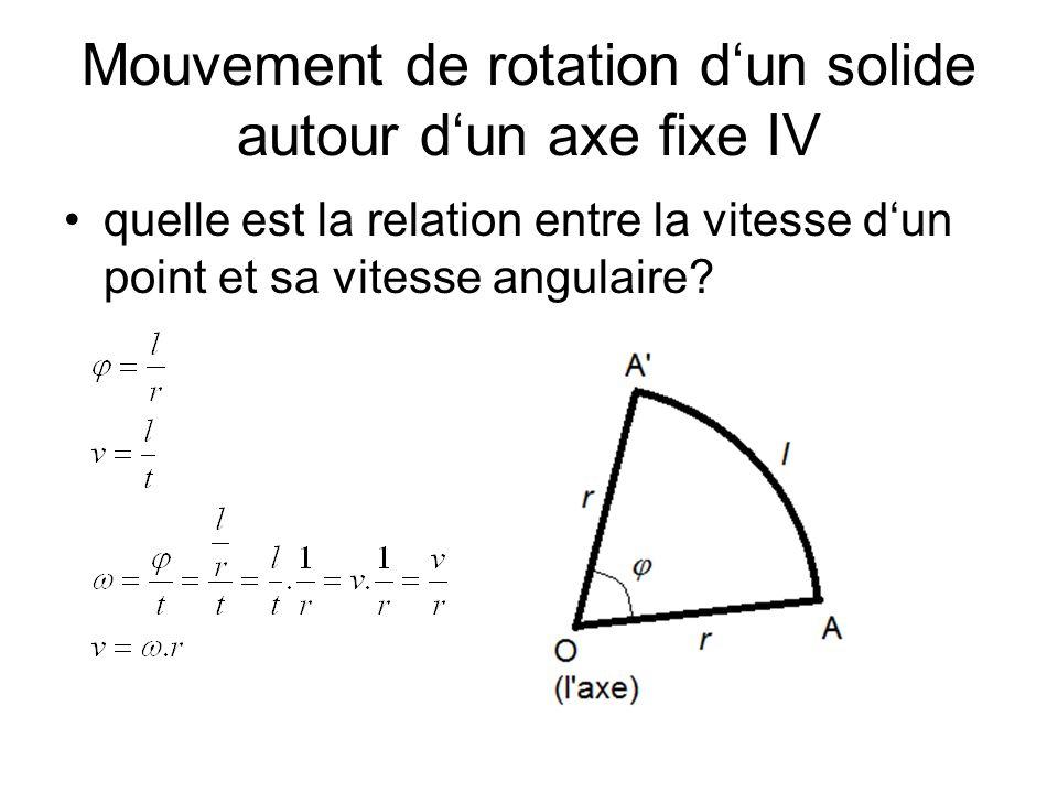 Mouvement de rotation dun solide autour dun axe fixe IV quelle est la relation entre la vitesse dun point et sa vitesse angulaire?