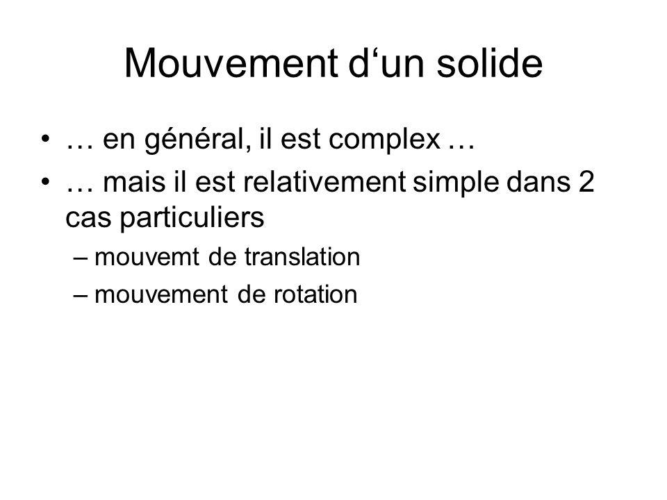 Mouvement dun solide … en général, il est complex … … mais il est relativement simple dans 2 cas particuliers –mouvemt de translation –mouvement de ro