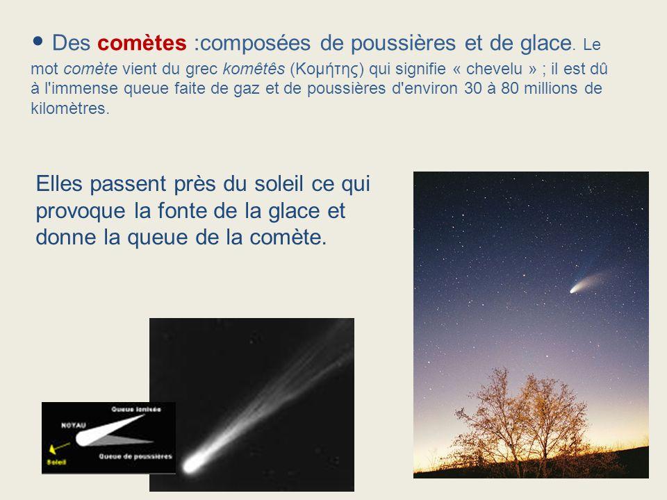 Des comètes :composées de poussières et de glace. Le mot comète vient du grec komêtês (Κομήτης) qui signifie « chevelu » ; il est dû à l'immense queue
