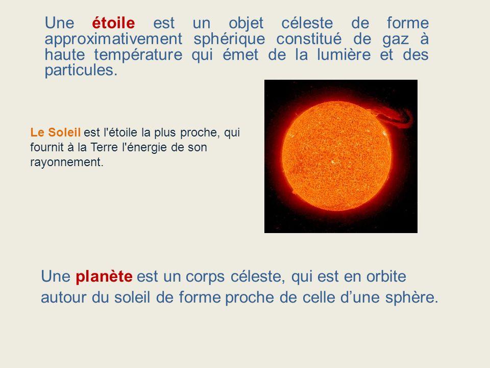 Une étoile est un objet céleste de forme approximativement sphérique constitué de gaz à haute température qui émet de la lumière et des particules. Le