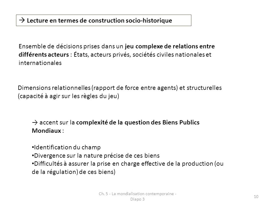 Ch. 5 - La mondialisation contemporaine - Diapo 3 10 Lecture en termes de construction socio-historique Ensemble de décisions prises dans un jeu compl