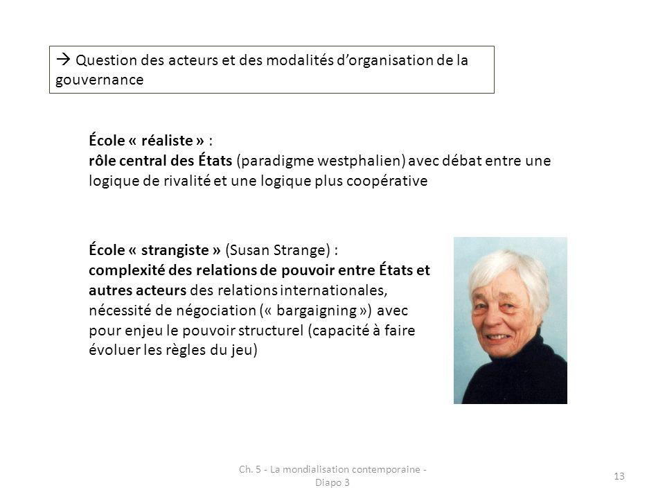 Ch. 5 - La mondialisation contemporaine - Diapo 3 13 Question des acteurs et des modalités dorganisation de la gouvernance École « réaliste » : rôle c