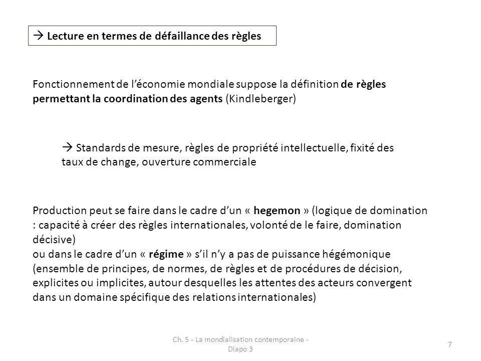 Ch. 5 - La mondialisation contemporaine - Diapo 3 7 Lecture en termes de défaillance des règles Fonctionnement de léconomie mondiale suppose la défini