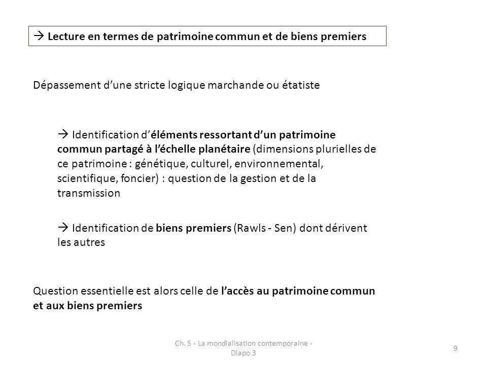 Ch. 5 - La mondialisation contemporaine - Diapo 3 9 Lecture en termes de patrimoine commun et de biens premiers Dépassement dune stricte logique march