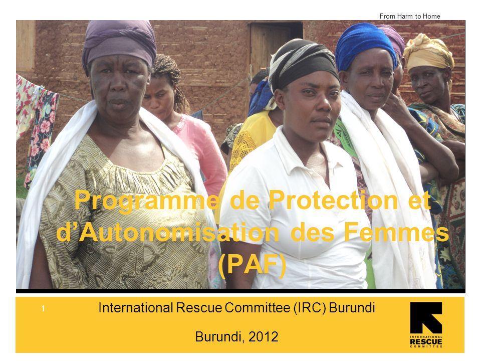 From Harm to Home 2 Le secteur WPE sarticule autour de deux grands axes: Les Refugies (Congolais, Rwandais) dans les camps et en milieu urbain (Bujumbura) Les Retournes Burundais et la population dans la Societe civile burundaise Des projets dans 4 provinces: Bujumbura Rural & Mairie, Makamba, Muyinga et Ruyigi Structure: Une Equipe de 70 employées 3 Organisations Partenaires Nationales Refugee Incentive staffs dans les camps 1 Unité Technique Internationale en soutien IRC Burundi – PAF Organisation et Equipes