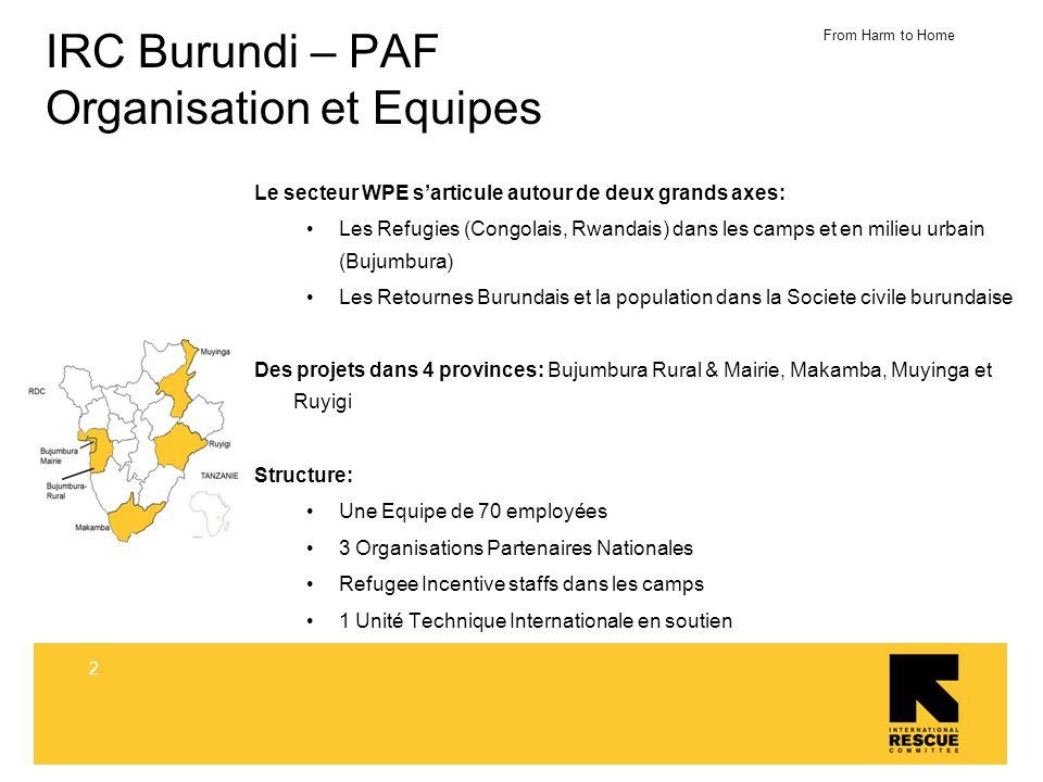 From Harm to Home 3 IRC Burundi – PAF Objective Le Programme PAF est présent au Burundi depuis 2006 Objectif Global : Appuyer la protection et lautonomisation des femmes/ filles victimes des violences basées sur le genre (GBV) et des Personnes a Besoin Spécifique dans les camps de refugies et dans la société Burundaise