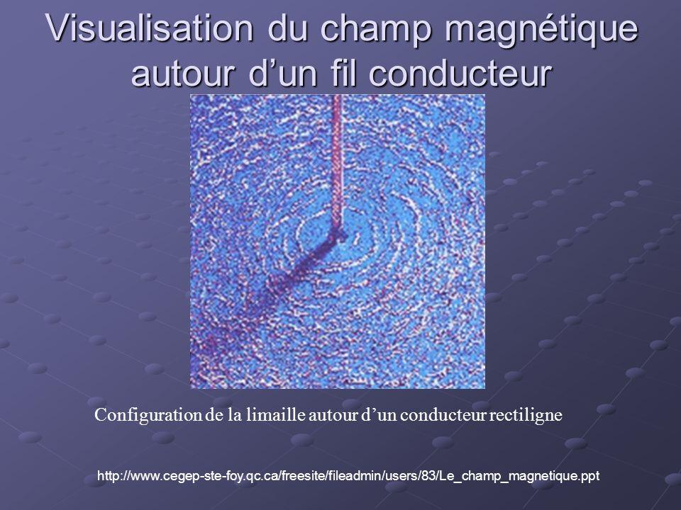 Visualisation du champ magnétique autour dun fil conducteur Configuration de la limaille autour dun conducteur rectiligne http://www.cegep-ste-foy.qc.ca/freesite/fileadmin/users/83/Le_champ_magnetique.ppt