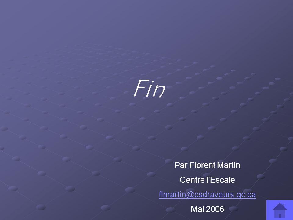 Fin Par Florent Martin Centre lEscale flmartin@csdraveurs.qc.ca Mai 2006