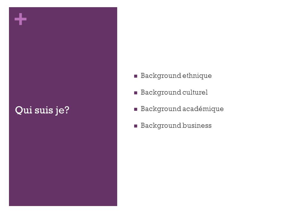 + Qui suis je Background ethnique Background culturel Background académique Background business