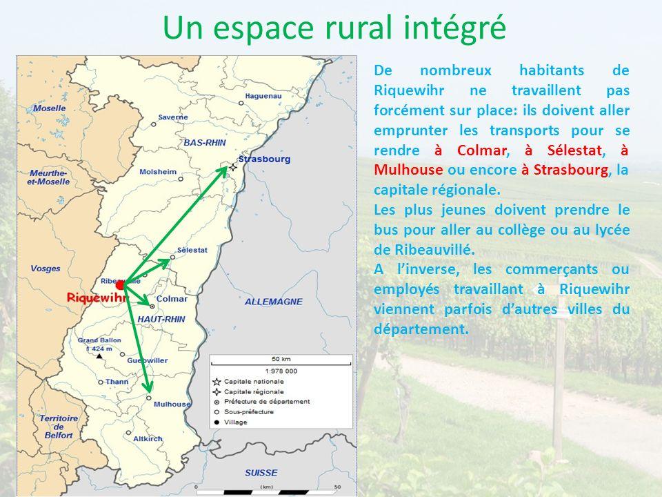 Un espace rural intégré De nombreux habitants de Riquewihr ne travaillent pas forcément sur place: ils doivent aller emprunter les transports pour se