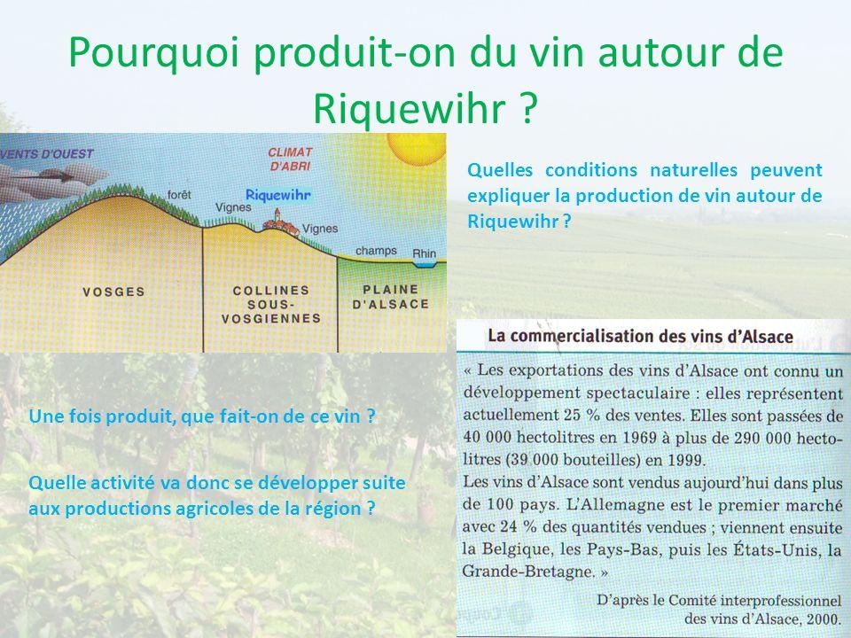 Pourquoi produit-on du vin autour de Riquewihr ? Quelles conditions naturelles peuvent expliquer la production de vin autour de Riquewihr ? Une fois p