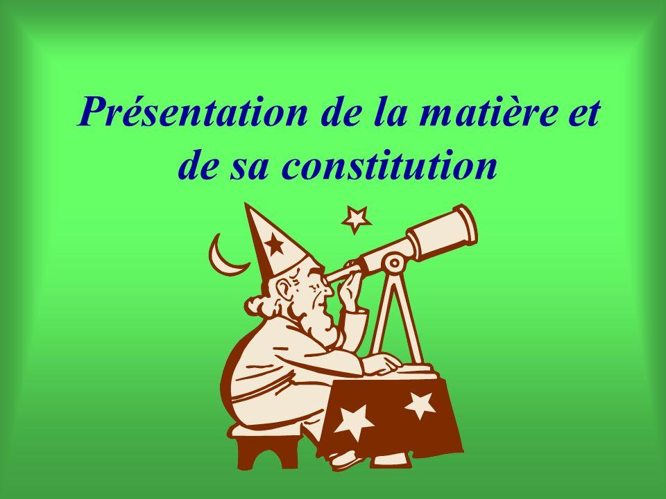Présentation de la matière et de sa constitution