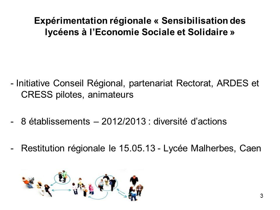 Expérimentation régionale « Sensibilisation des lycéens à lEconomie Sociale et Solidaire » - Initiative Conseil Régional, partenariat Rectorat, ARDES