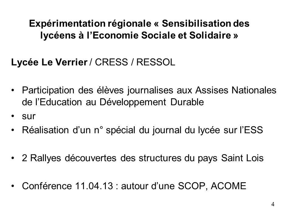 Expérimentation régionale « Sensibilisation des lycéens à lEconomie Sociale et Solidaire » Lycée Le Verrier / CRESS / RESSOL Participation des élèves