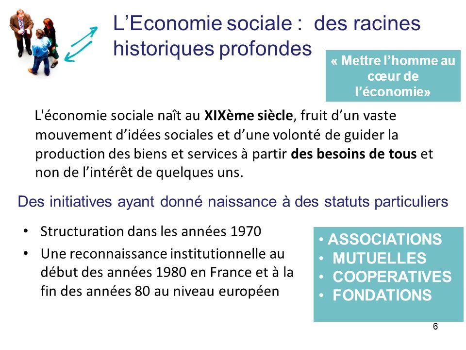 LEconomie sociale : des racines historiques profondes L'économie sociale naît au XIXème siècle, fruit dun vaste mouvement didées sociales et dune volo