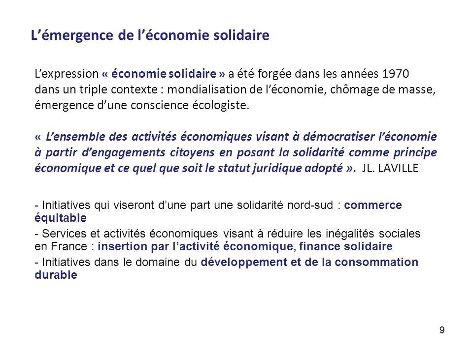 Lémergence de léconomie solidaire Lexpression « économie solidaire » a été forgée dans les années 1970 dans un triple contexte : mondialisation de léc