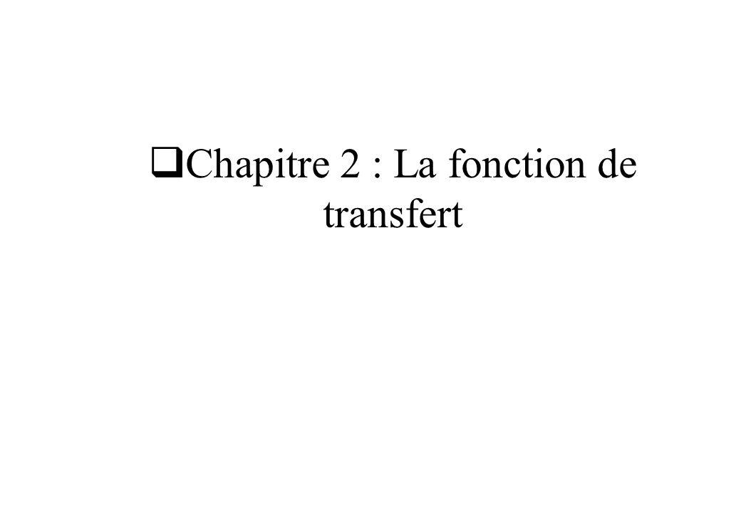 La fonction de transfert La fonction de transfert caractérise le système et lui seul Généralisation du concept d impédance complexe z(j ) dun circuit L ordre du système est le degré du dénominateur de la fonction de transfert Attention à respecter le principe de causalité :
