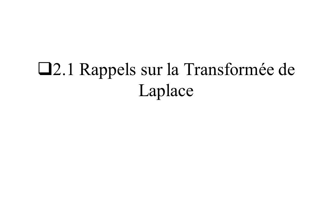2.1 Rappels sur la Transformée de Laplace