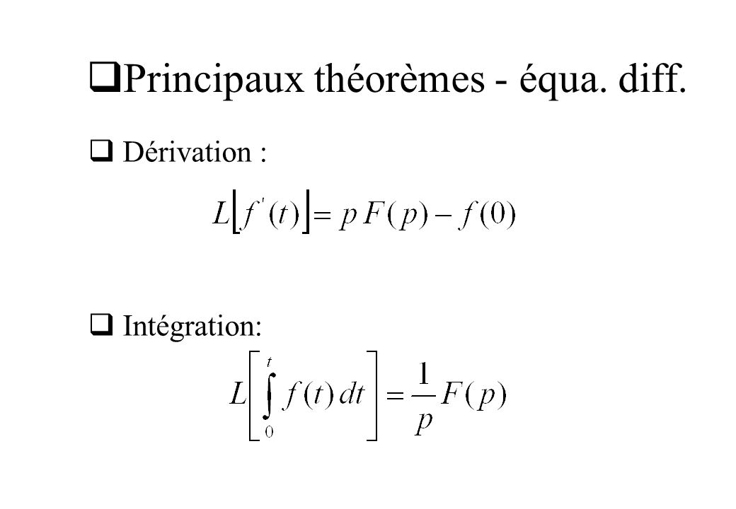 Principaux théorèmes - extrema Valeur initiale : Valeur finale: