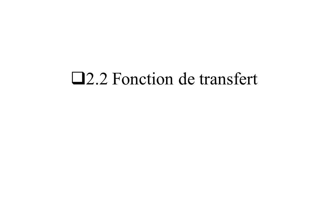 Exemple : moteur à courant continu Point de fonctionnement : u 0 = 100 V ; n 0 = 735 tr/mn Fonction de transfert : Moteur CC u(t) = u 0 + u(t) n(t) = n 0 + n(t) Tension d induit Vitesse de l arbre