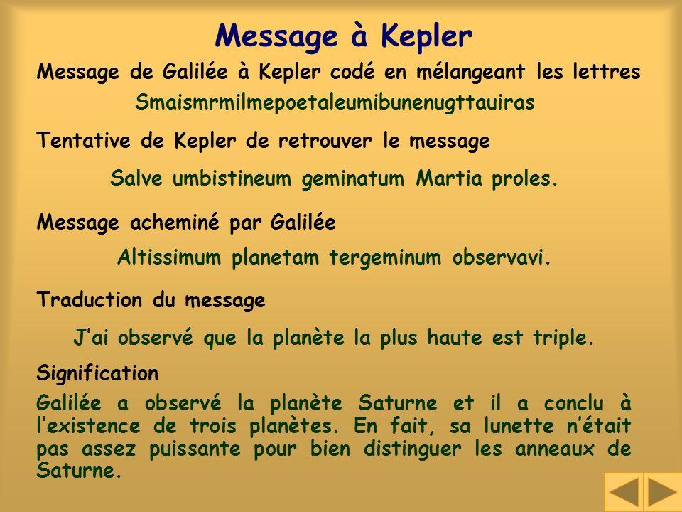 Message à Kepler Smaismrmilmepoetaleumibunenugttauiras Salve umbistineum geminatum Martia proles. Altissimum planetam tergeminum observavi. Jai observ