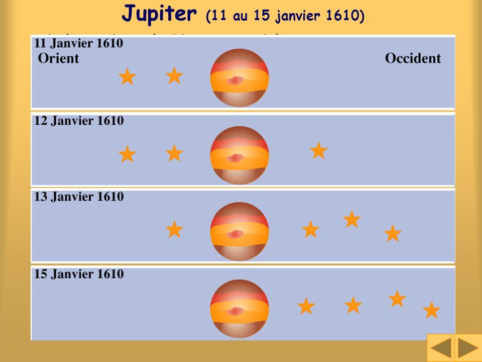 Jupiter (11 au 15 janvier 1610) Il était donc établi et tranché par moi sans aucun doute quil y avait dans le ciel trois étoiles errant autour de Jupi