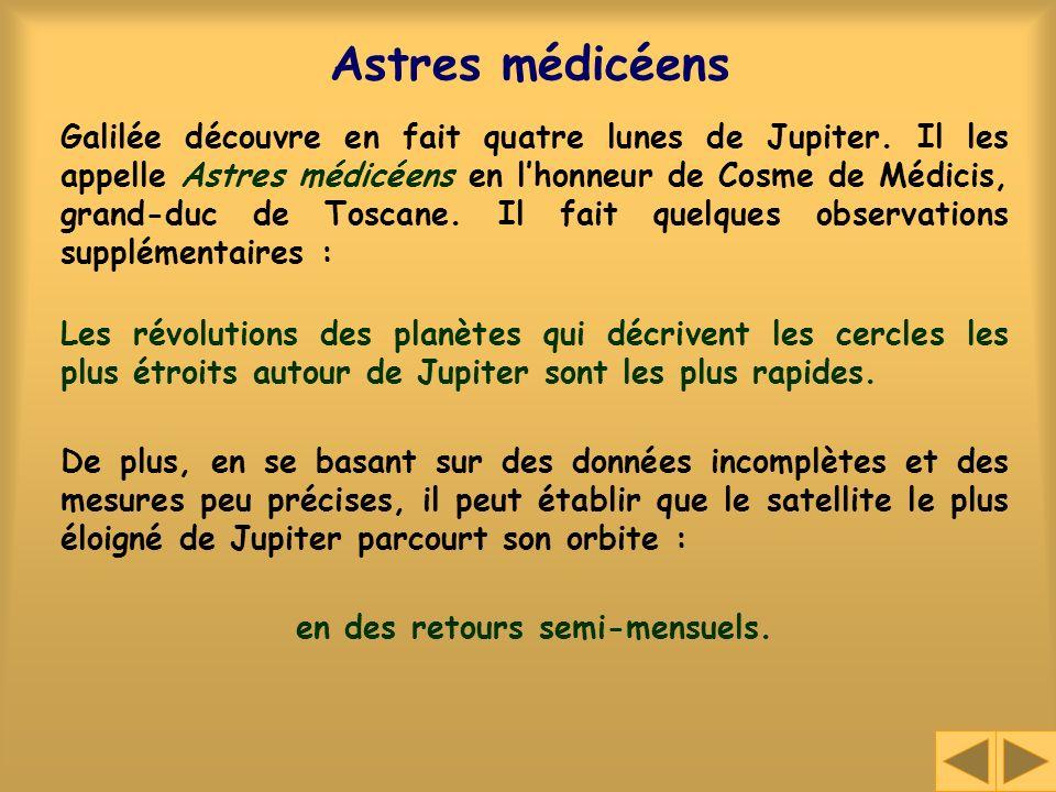 Astres médicéens Galilée découvre en fait quatre lunes de Jupiter. Il les appelle Astres médicéens en lhonneur de Cosme de Médicis, grand-duc de Tosca