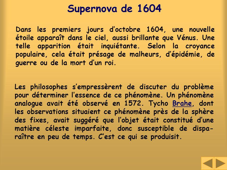 Supernova de 1604 Dans les premiers jours doctobre 1604, une nouvelle étoile apparaît dans le ciel, aussi brillante que Vénus. Une telle apparition ét