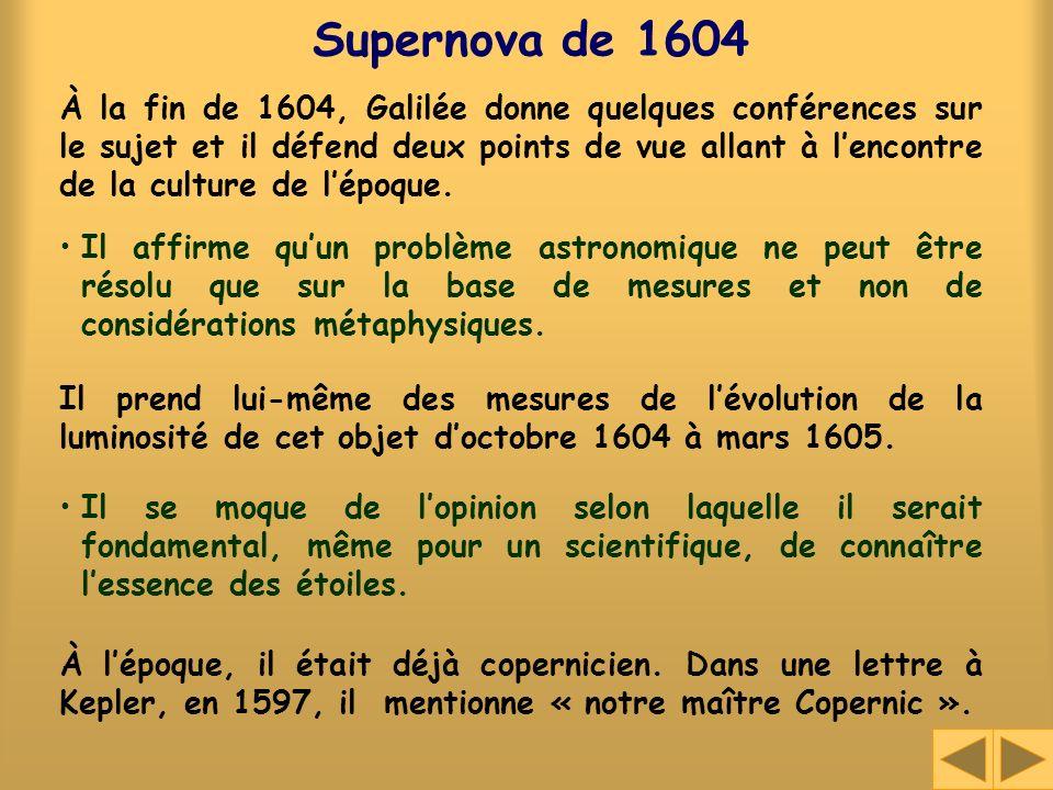 Supernova de 1604 À la fin de 1604, Galilée donne quelques conférences sur le sujet et il défend deux points de vue allant à lencontre de la culture d