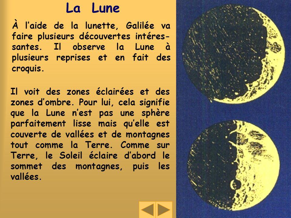 La Lune À laide de la lunette, Galilée va faire plusieurs découvertes intéres- santes. Il observe la Lune à plusieurs reprises et en fait des croquis.