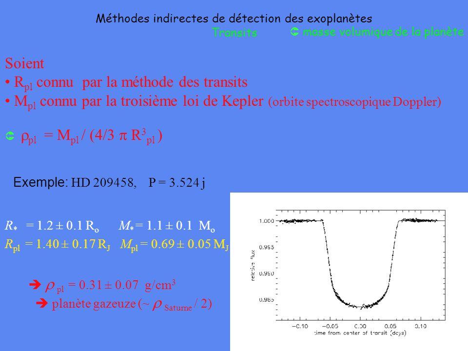Soient R pl connu par la méthode des transits M pl connu par la troisième loi de Kepler (orbite spectroscopique Doppler) pl = M pl / (4/3 R 3 pl ) Mét