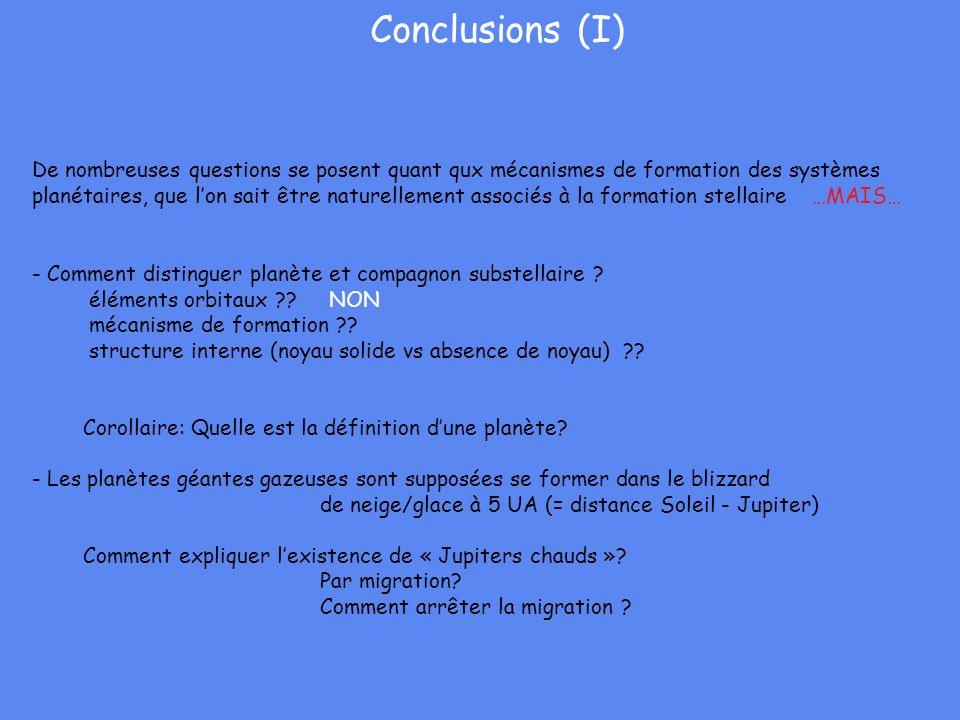 Conclusions (I) De nombreuses questions se posent quant qux mécanismes de formation des systèmes planétaires, que lon sait être naturellement associés