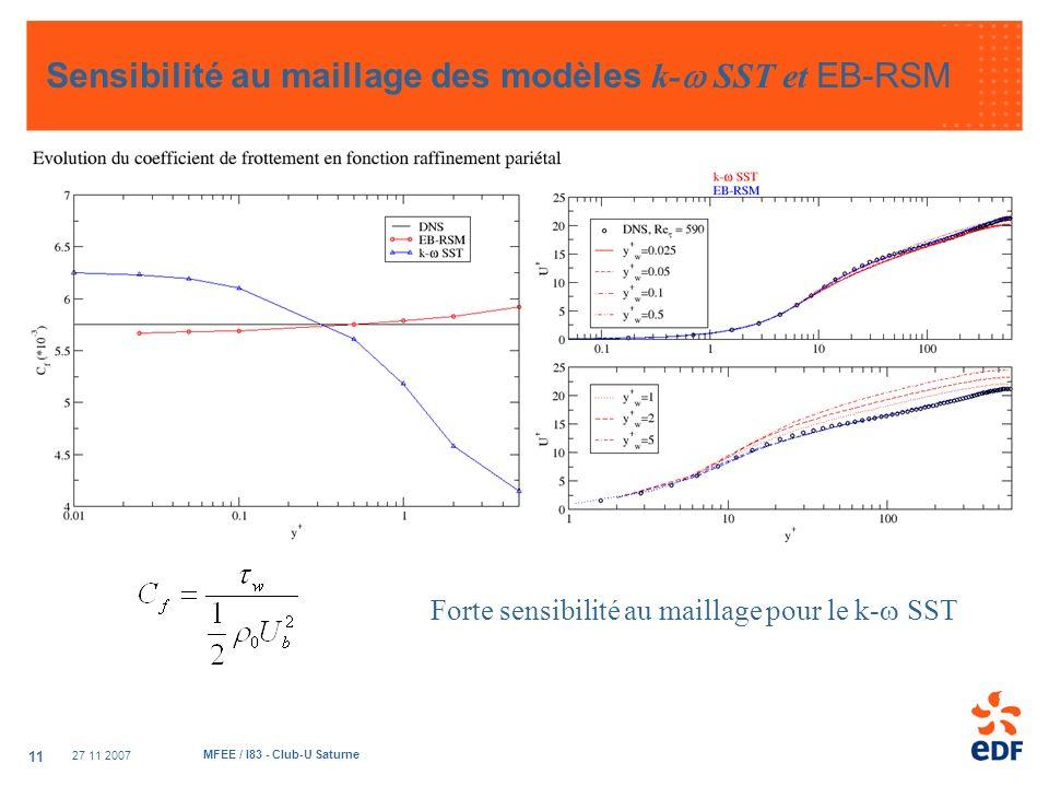 27 11 2007 MFEE / I83 - Club-U Saturne 11 Sensibilité au maillage des modèles k- SST et EB-RSM Forte sensibilité au maillage pour le k- SST