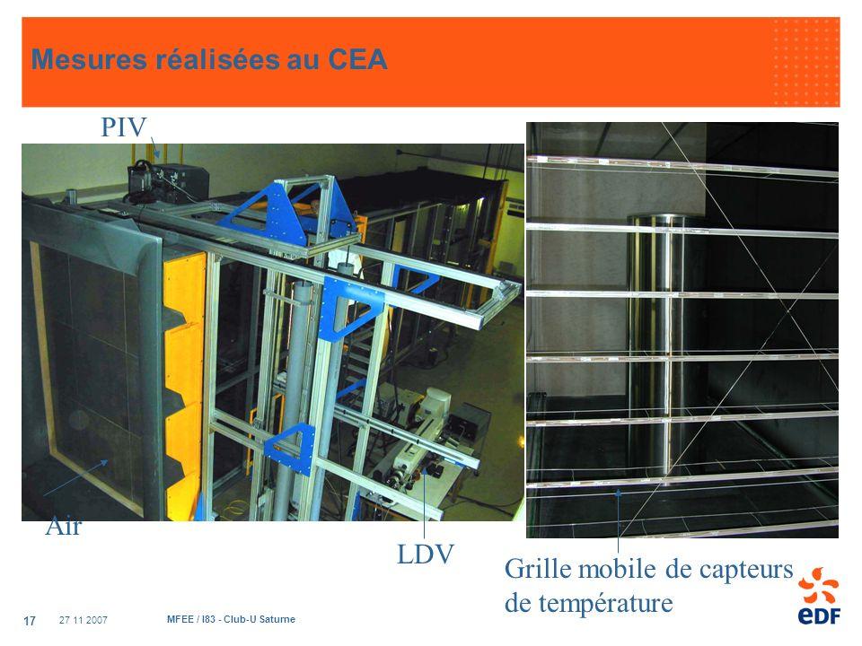 27 11 2007 MFEE / I83 - Club-U Saturne 17 Mesures réalisées au CEA Air PIV LDV Grille mobile de capteurs de température