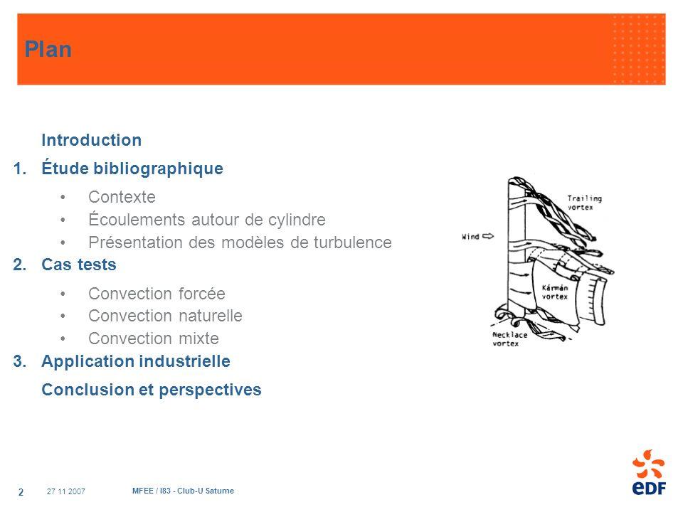 27 11 2007 MFEE / I83 - Club-U Saturne 2 Plan Introduction 1.Étude bibliographique Contexte Écoulements autour de cylindre Présentation des modèles de