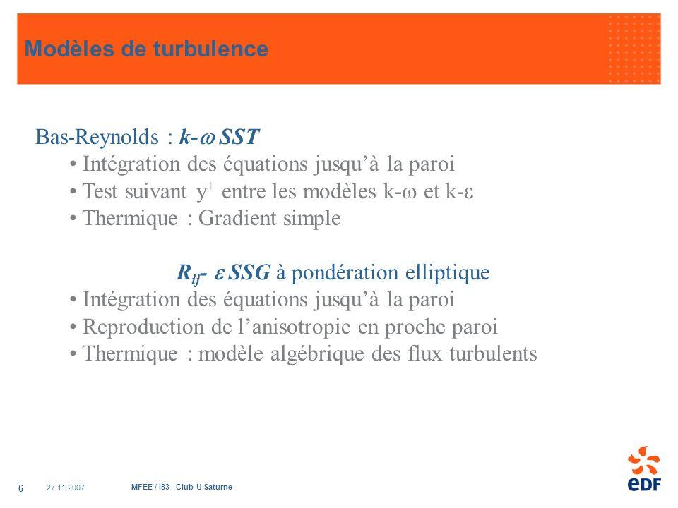 27 11 2007 MFEE / I83 - Club-U Saturne 6 Bas-Reynolds : k- SST Intégration des équations jusquà la paroi Test suivant y + entre les modèles k- et k- T