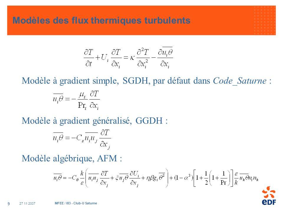27 11 2007 MFEE / I83 - Club-U Saturne 9 Modèles des flux thermiques turbulents Modèle à gradient simple, SGDH, par défaut dans Code_Saturne : Modèle