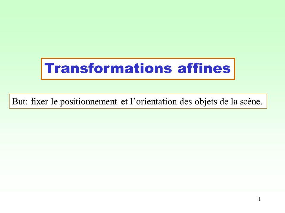 1 Transformations affines But: fixer le positionnement et lorientation des objets de la scène.