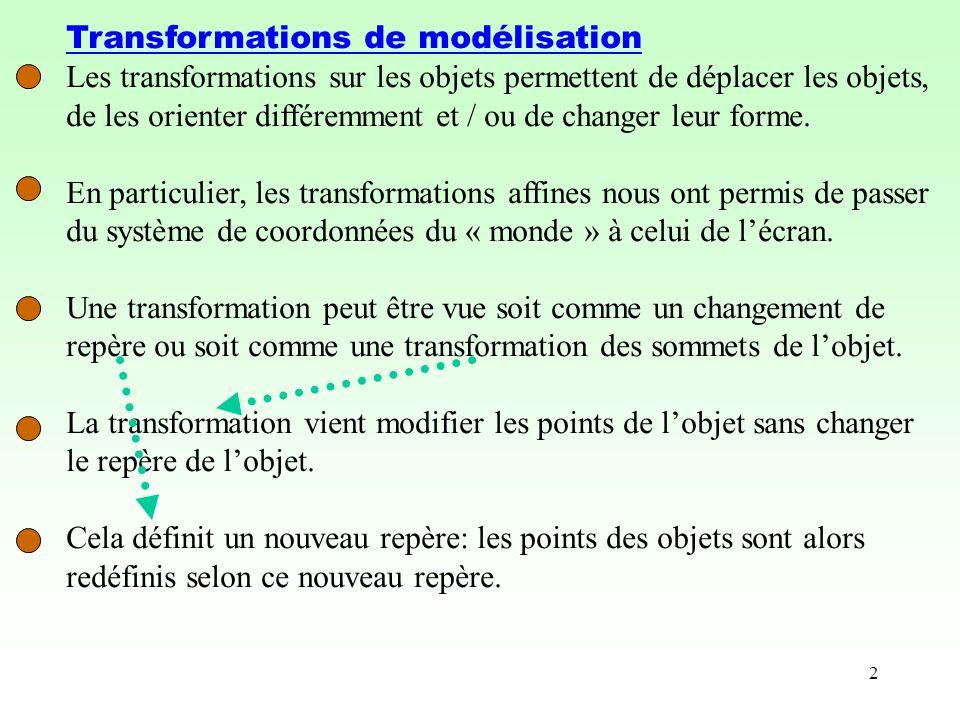 2 Transformations de modélisation Les transformations sur les objets permettent de déplacer les objets, de les orienter différemment et / ou de changer leur forme.
